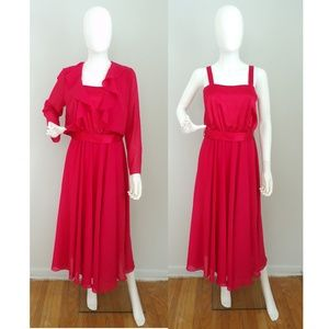Vintage Ursula Red Dress & Jacket Set Size Small